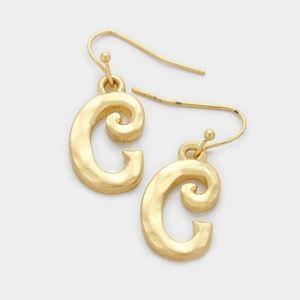 """Gold Letter """"C"""" Monogram Earrings"""